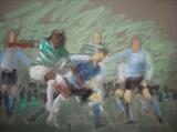 celtic v. St Mirren  Dec. '07 by malize, Drawing, Pastel on Paper